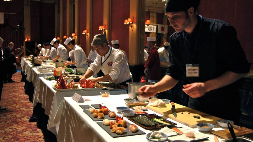 Prepping to win: Pepi Anevski (front), of Umami restaurant in Copenhagen, was named Chef of the Year at Japan's first World Sushi Cup for his winning dish of season-inspired sushi.