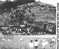 Although 20 unionists were convicted for the so-called Matsukawa Incident deraliment of this train in Fukushima Prefecture in 1949.