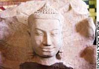 One of the hundreds of Buddhist statues unearthed in Cambodia's Angkor complex.