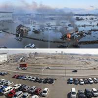 Exit point: Sendai Airport on March 11, 2011, and today.  The government's lack of preparedness for the 3/11 disasters does little to inspire confidence in its ability to handle Japan's longer-term structural problems. | KYODO