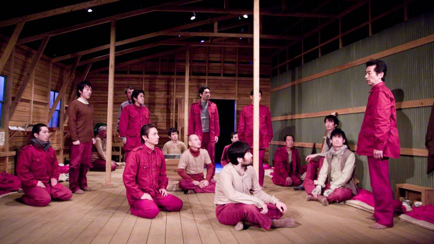 Last rites: In this scene from 'Cowra no Hancho Kaigi,' a new play by Yoji Sakate, Okawa (Tsunekazu Inokuma, right) fires up a group of Japanese POWs for a suicidal banzai charge at the Cowra prison camp in rural Australia in August, 1944.