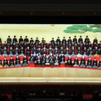 Meet the cast: Ninety-nine kabuki actors with Shochiku Co. take part in an introduction during the opening ceremony for the new Kabuki-za theater in Tokyo's Ginza district on Wednesday. | YOSHIAKI MIURA