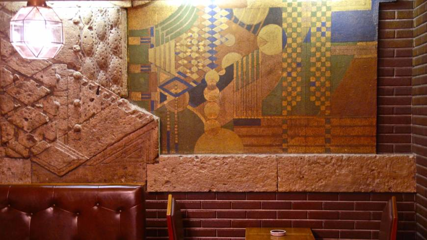 A mural from the original 1923 hotel in today's Old Imperial Bar.