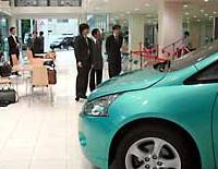 Mitsubishi Motors Corp. unveils a refurbished showroom in Meguro Ward, Tokyo.