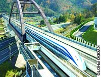 A manned magnetically levitated train operates on an experimental track located in Tsuru, Yamanashi Prefecture.