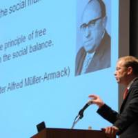 Michael Eilfort, director of the Berlin-based think tank Stiftung Marktwirtschaft, discusses Germany's postwar social market economy model during a June 18 symposium at Keidanren Kaikan in Tokyo. | SATOKO KAWASAKI PHOTOS