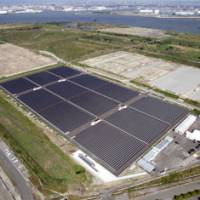 Solely solar: Dubbed a 'mega solar' plant, Kansai Electric Power Co.'s commercial power station in Sakai, Osaka Prefecture, generates electricity entirely by solar panels.   KYODO PHOTO