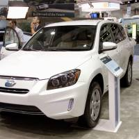 Taking charge: Toyota Motor Corp.'s electric RAV4 sport utility vehicle is on display Monday in Los Angeles. | KYODO