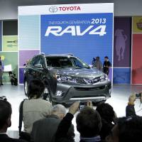 Overhauled: Toyota Motor Corp.'s 2013 RAV4 is on display at the Los Angeles Auto Show last month. | BLOOMBERG