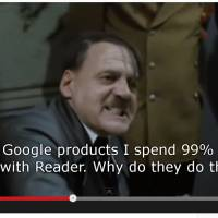 Being evil: The latest 'Downfall' parody on YouTube sees Hitler reacting to Google scrapping its Reader app. | YOUTUBE