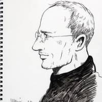 Apple draw: A sketch of Steve Jobs by Mari Yamazaki from her upcoming manga adaptation of the biography 'Steve Jobs' by Walter Isaacson. | MARI YAMAZAKI