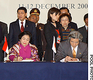 Prime Minister Junichiro Koizumi and Indonesian President Megawati Sukarnoputri sign a declaration Friday.