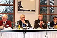 Other participants in the symposium listen to a debate: (from left) Werner Spinner, chairman of the Japan Initiative at the Federation of German Industries; Bernd Ziesemer, editor in chief of the Handelsblatt newspaper; Wolfgang Wiegard; and Masami Tashiro. Spinner and Ziesemer served as moderators at the symposium.