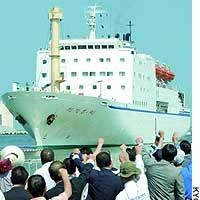 The North Korean ferry Mangyongbong-92 enters Niigata port in September 2003 amid protests over Pyongyang's admitted abduction of Japanese.