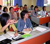Foreign students attend a class at Tokyo Nichigo Gakuin, a Japanese-language school in the city of Saitama.