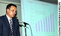 Yuri Molchanov,vice governor of St. Petersburg, speaks during an investment seminar in Tokyo on Sept. 15.
