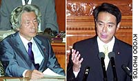 Prime Minister Junichiro Koizumi listens as new Democratic Party of Japan chief Seiji Maehara speaks to the Lower House on Wednesday.