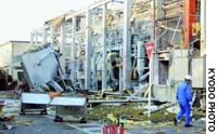 Hino, Shiga Pref. - A predawn explosion ripped through a steel-frame building at this Toyo Aluminum K.K. factory here on Friday morning, leaving three workers injured.