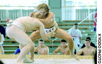 Wrestlers take part in the World Sumo Championships tournament in Sakai, Osaka Prefecture, on Oct. 16. Sumo wrestlers from 30 countries participated.