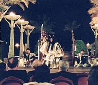 The noh troupe Sense performs in Oman last February. | PHOTO COURTESY OF THE JAPAN FOUNDATION/KYODO