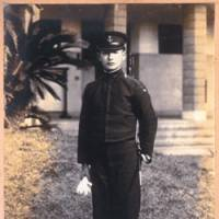 Masamichi Shida in February 1944, at age 18, posing at the elite naval academy at Edajima, off the coast of Hiroshima Prefecture and near the site of the first atomic bombing. Seen here with a prestigious 'tanken' (short sword) at his side, he would soon become a kamikaze pilot. | PHOTO COURTESY OF MASAMICHI SHIDA