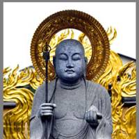 A buddhist saint at Enmei-ji Temple in Zushi, Kanagawa Prefecture, and a pair of Koma-inu statues guarding Tsurugaoka Hachiman-gu Shrine in nearby Kamakura symbolize Japan's two main religions. | ERIC PRIDEAUX PHOTOS