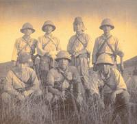 Shuichi Maeda (standing, second from right) poses for a photo with fellow soldiers during a mission in Jiangxi Province, China, in 1942. Many Japanese soldiers died during the mission from malaria and sunstroke after a long march through heavy rain and then extreme heat. | PHOTO COURTESY OF SHUICHI MAEDA