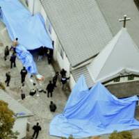 Police comb the grounds of the church where Masayoshi Magome (left), the alleged gunman in Friday's shooting rampage in Sasebo, Nagasaki Prefecture, was found dead Saturday. | KYODO PHOTOS