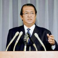 Justice Minister Kunio Hatoyama faces reporters Friday in Tokyo to announce three executions. | KYODO PHOTO