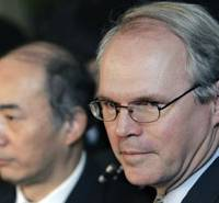 Chief U.S. nuclear envoy Christopher Hill and his Japanese counterpart, Kenichiro Sasae, talk to the press following talks in Tokyo on Jan. 7. | AP PHOTO