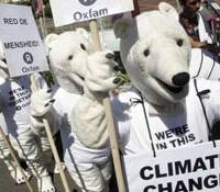 Protesters in polar bear outfits demonstrate during the December U.N. Climate Conference in Bali, Indonesia, where negotiations for a post-Kyoto Protocol were held. | AP PHOTO