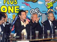 Mitsuhiro Kimura (third from left), president of the Issui-kai rightist group, speaks Friday at a preview of a controversial documentary on Tokyo's Yasukuni Shrine. | YOSHIAKI MIURA PHOTO