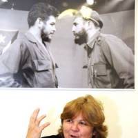 In his wake: Aleida Guevara, daughter of Cuban revolutionary 'Che' Guevara, gives an interview Tuesday at the Cuban Embassy in Minato Ward, Tokyo. | SATOKO KAWASAKI PHOTO