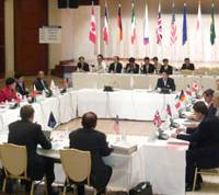 Tech talk: Science and technology ministers from the Group of Eight developed countries gather in Nago, Okinawa Prefecture, for a one-day meeting on Sunday. | KYODO PHOTO