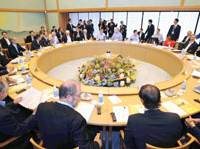 At the round table: The Group of Eight foreign ministers start off the final day of their two-day Kyoto parley Friday. | KYODO PHOTO