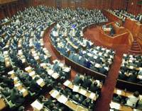 Full House: Lawmakers remain seated Friday after the Lower House overrode the opposition-controlled Upper House and enacted a controversial bill to maintain the Maritime Self-Defense Force's refueling mission in the Indian Ocean. | KYODO PHOTO