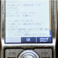 Banned: A mobile phone shows an unofficial school Web site where people can post messages. | KYODO PHOTO