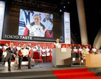 Par excellence: Joel Robuchon, the world's most Michelin-starred chef and honorary adviser of Tokyo's world gastronomy summit's executive committee, speaks Monday during the summit in Tokyo. | YOSHIAKI MIURA PHOTO