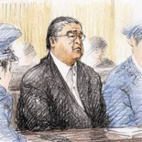 On trial: A sketch shows former sumo stablemaster Tokitsukaze, whose real name is Junichi Yamamoto, standing trial Thursday at the Nagoya District Court over the fatal beating of junior wrestler Takashi Saito in 2007. At right, Masato Saito heads to the court for the first trial session into his son's death.   KYODO PHOTO