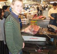 Exchange program: Philip von Arenstorff of Denmark tours the Tsukiji fish market in Tokyo as part of his training as a chef. | KYODO PHOTO
