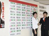 Rosy outlook: Renho (left), an Upper House lawmaker from the Democratic Party of Japan who goes by one name, and Kan Suzuki, also an Upper House member and the party's Tokyo chapter election chief, display the DPJ's list of candidates adorned with numerous victory roses at party headquarters Sunday night. | KYODO PHOTO