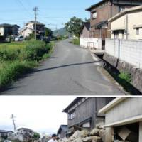 Before and after: Kiyoshi Ihara surveys his house Sunday in Hofu, Yamaguchi Prefecture, following a rain-induced landslide last week (lower photo). Ihara, whose family has lived in the neighborhood since the Meiji Era, says he will probably have to move. | KYODO PHOTO