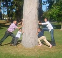 One, two, tree!: The Macklin family pushes a tree together in Adelaide, Australia, last November. | COURTESY OF DAVID MACKLIN