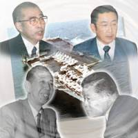 Secrets and lies?: This collage shows the late Prime Ministers (clockwise, from top left) Keizo Obuchi, Ryutaro Hashimoto, Masayoshi Ohira and Nobusuke Kishi, with the nuclear-powered aircraft carrier USS Enterprise in the background. The four reportedly failed to disclose secret pacts between Tokyo and Washington. | KYODO PHOTO