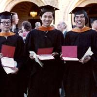 College days: Flanked by friends at Stanford University in California, Yukio Hatoyama shows off his master's degree during graduation in 1972. LEFT: He and wife Miyuki pose for the camera in 1975 during their days in the U.S. | KYODO PHOTO