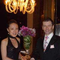 Table for two: Anthony and Mayura Deville pose at the Italian restaurant Piacere in Shangri La Hotel, Tokyo, in Chiyoda Ward in July. | COURTESY OF ANTHONY DEVILLE