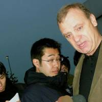 Grateful: Bill Hawker, the father of slain English teacher Lindsay Ann Hawker, faces reporters Wednesday after leaving Gyotoku Police Station in Chiba Prefecture. | KYODO PHOTO