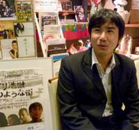 Helping the needy: Hiroki Watanabe talks about his movie, 'The Whirlpool,' featuring street children in Bangladesh in an interview in Yokohama. | KYODO PHOTO