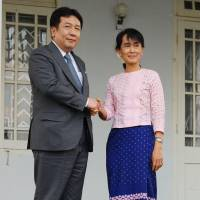 Perseverance: Trade minister Yukio Edano meets Myanmar democracy icon Aun San Suu Kyi in Yangon Thursday. | KYODO