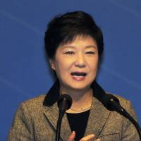 Must look back: South Korean President Park Geun Hye delivers a speech Friday in Cheonan to mark the 94th anniversary of an independence drive against Japan's colonial rule. | KYODO